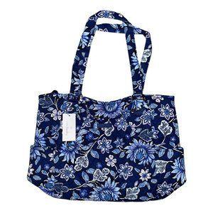 Vera Bradley TROPICS TAPESTRY Large Glenna Blue Floral Shoulder Bag Purse NWT